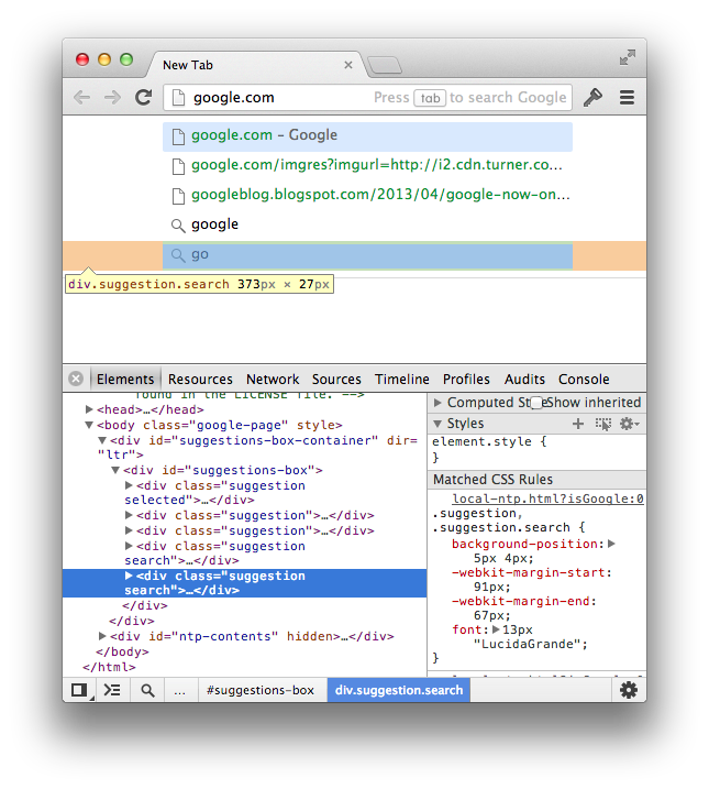 Chrome's WebKit rendered URL Suggestions