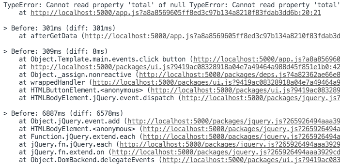 Meteor Error Stack Trace with Zones