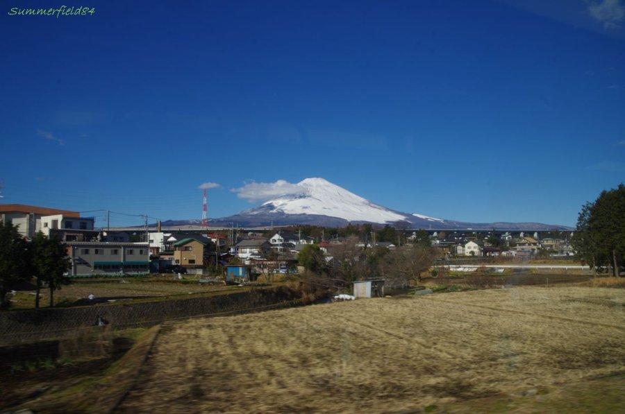 畑の向こうに富士山