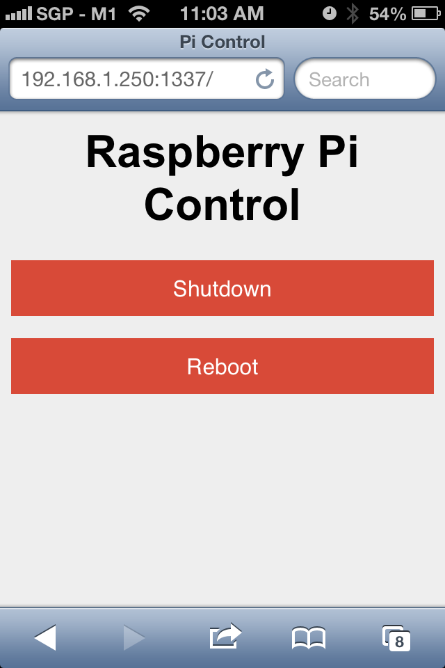 pi control on safari
