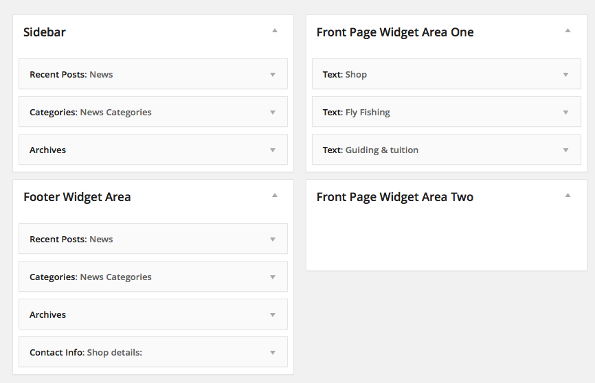 Widgets High Country Outfitters WordPress