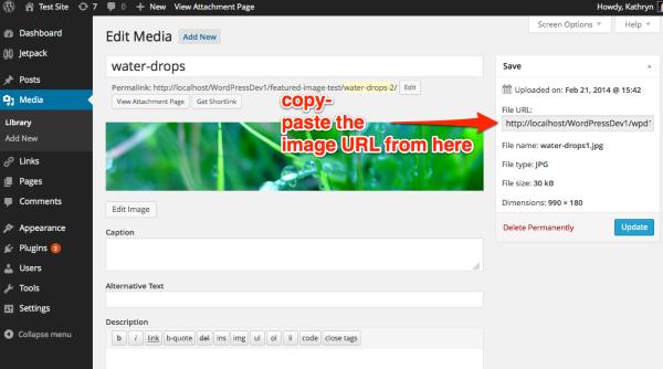 Edit Media Test Site WordPress