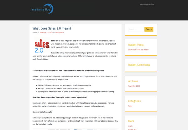 What does Sales 2 0 mean Intelliverse Blog