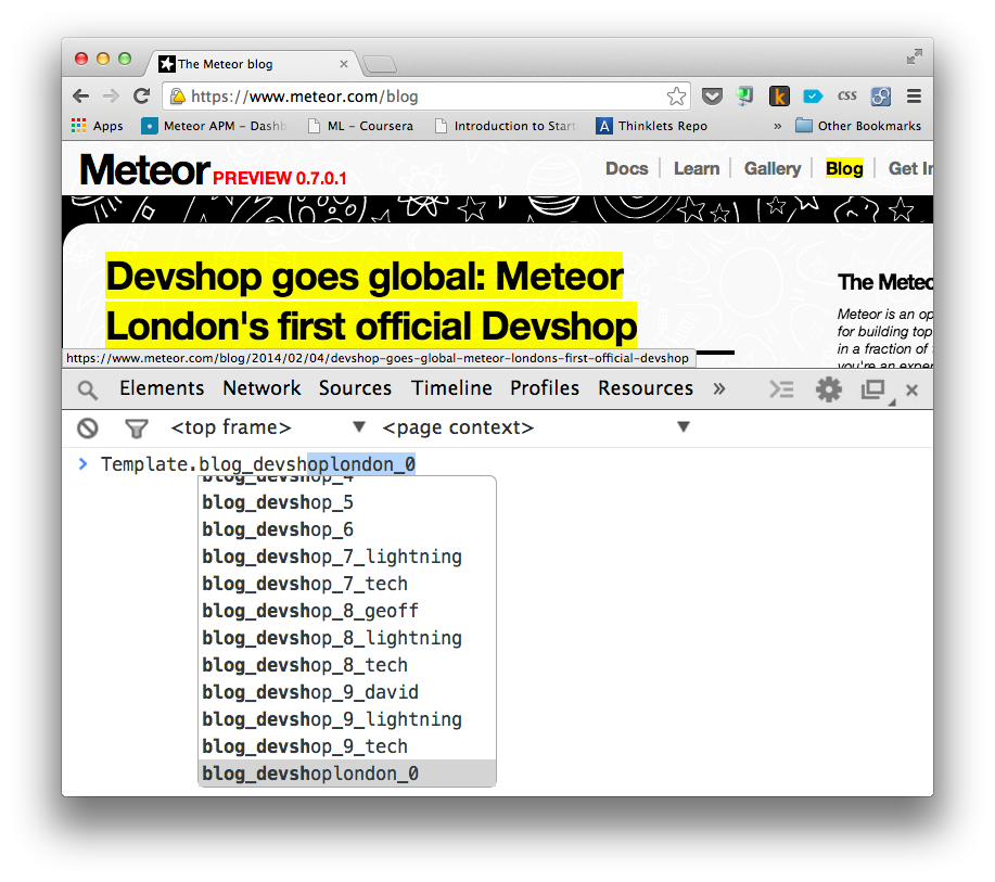 Templates of meteor.com