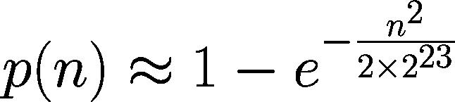 p(n)≈1-e^(-(n^2)/(2*2^23))
